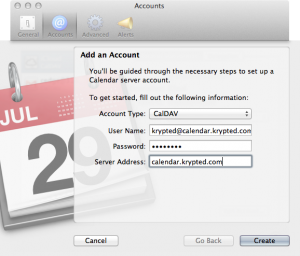 Account Settings In Mountain Lion's Calendar App