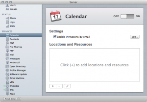 Enabling the Calendar Server in Mountain Lion Server