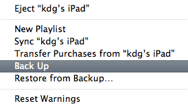 Immediate iTunes Backup